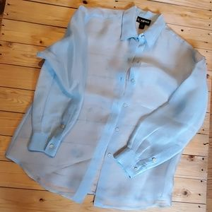 Company Ellen Tracey Sheer Blue 100%Silk Blouse